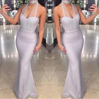 Chic Halter Sleeveless Tulle Sexy Mermaid Floor-Length Prom Dresses_3