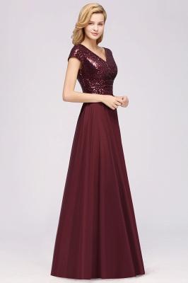 Elegant A-Line Burgundy Chiffon Sequined V-Neck Sleeveless Ruffles Floor-Length Bridesmaid Dresses_6