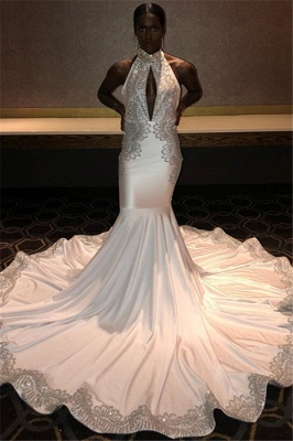 Chic Halter Sleeveless Lace Appliques Sexy Mermaid Sweep Train Prom Dresses_1