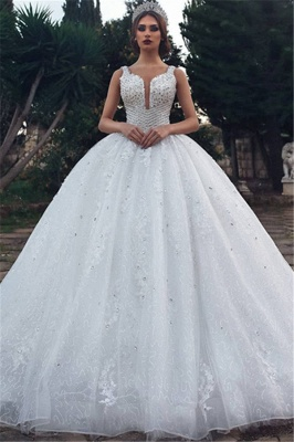 Elegant Straps Sleeveless Lace Appliques V-Neck Rhinestones Ball Gown Wedding Dresses