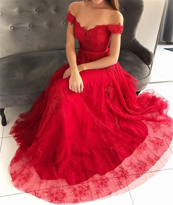 Glamorous Off-the-Shoulder Lace Appliques Tulle A-Line Floor-Length Prom Dresses_4