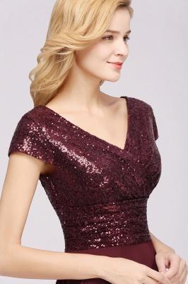 Elegant A-Line Burgundy Chiffon Sequined V-Neck Sleeveless Ruffles Floor-Length Bridesmaid Dresses_7