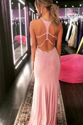 Elegant Mermaid Halter Long Prom Dresses with Crystal_2