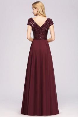 Elegant A-Line Burgundy Chiffon Sequined V-Neck Sleeveless Ruffles Floor-Length Bridesmaid Dresses_2
