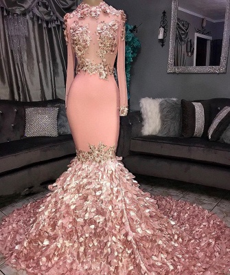 Glamorous Round Neck Flowers Long Sleeve Sequins Mermaid Long Prom Dresses Cheap_3