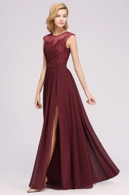 A-line Chiffon Lace Jewel Sleeveless Floor-Length Bridesmaid Dresses with Appliques_5