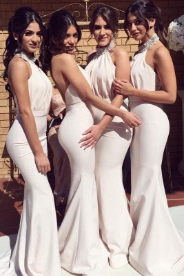 Glamorous Halter Sexy Mermaid Bridesmaid Dresses | Sexy Ruched Long Wedding Party Dresses_1