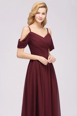 Chiffon V-Neck Spaghetti Straps Short-Sleeves Floor-Length Bridesmaid Dresses with Ruffles_5
