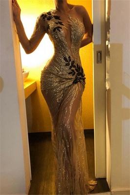 Gorgeous One Shoulder V-Neck Sheath Backless  Prom Dresses_2