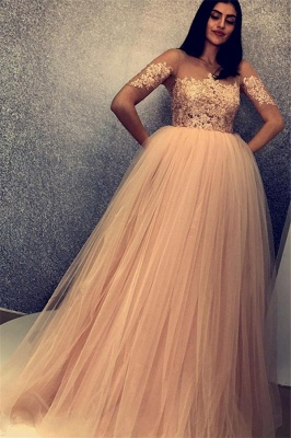 Stylish Scoop Short Sleeves Lace Appliques Tulle A-Line Floor-Length Prom Dresses