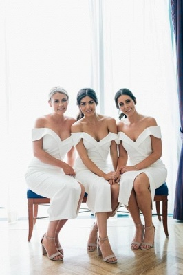 Off The Shoulder Sexy Bridesmaid Dresses | Front Split Cheap White Maid of Honor Dress_2