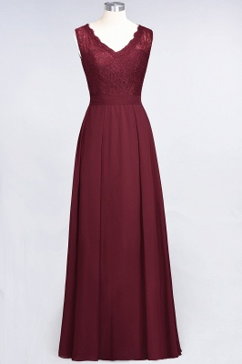 Elegant Princess Chiffon Lace V-Neck Sleeveless Floor-Length Bridesmaid Dress_2