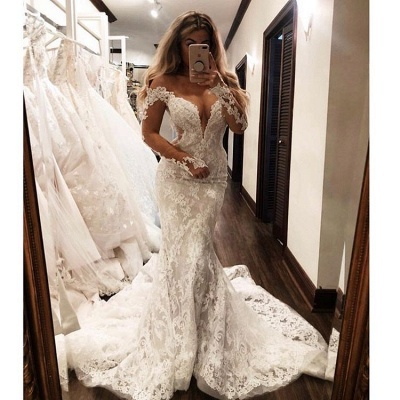 Gorgeous Off The Shoulder Long Sleeve V-Neck Lace Appliques Sexy Mermaid Floor Length Cheap Wedding Dresses_3