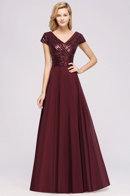 Elegant A-Line Burgundy Chiffon Sequined V-Neck Sleeveless Ruffles Floor-Length Bridesmaid Dresses_3