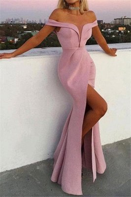 Unique Off-the-Shoulder V-Neck Front Split Sexy Mermaid Floor-Length Prom Dresses
