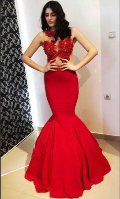 Glamorous Round Neck Lace Appliques Sleeveless Sexy Mermaid Floor-Length Prom Dresses