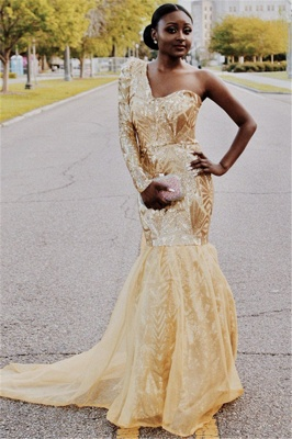Gorgeous One Shoulder Long Sleeves Sexy Mermaid Sweep Train Prom Dresses_1