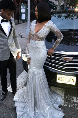 Unique V-Neck Long Sleeves Sequins Sexy Mermaid Floor-Length Prom Dresses_2
