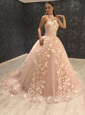 Chic Halter Sleeveless Tulle Lace Appliques Ball Gown Prom Dresses_3