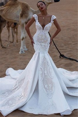 Unique Cap Sleeves V-Neck Lace Appliques Sexy Mermaid Sweep Train Cheap Wedding Dresses