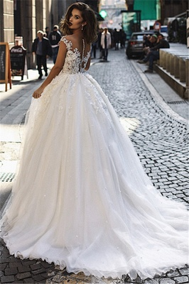 Modern Sleeveless Lace Wedding Dresses Cheap | Fluffy Tulle Overskirt Sexy Illsuion Bridal Gowns_3