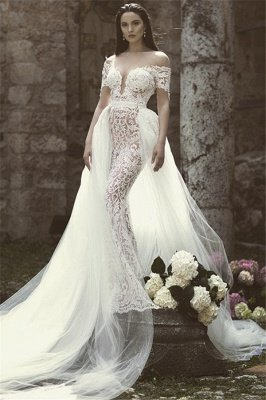 Mordern Off-the-Shoulder V-Neck Lace Appliques Tulle Sexy Mermaid Floor-Length Wedding Dresses