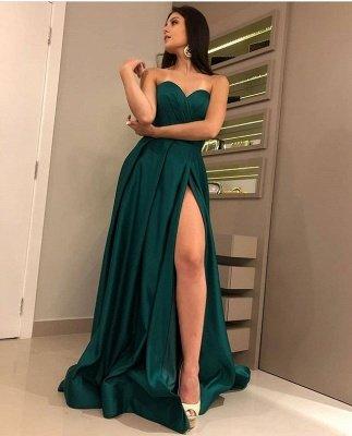 Sexy Strapless Front Split Sleeveless Floor-Length A-Line Prom Dresses_3