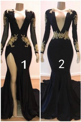 Glamorous V-Neck Long Sleeves Lace Appliques Sexy Mermaid Floor-Length Prom Dresses_1