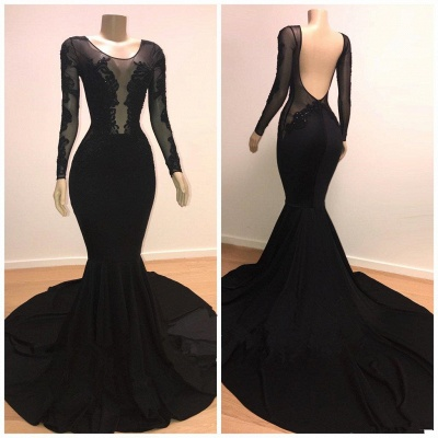 Unique Scoop Long Sleeves Backless Lace Appliques Tulle Sexy Mermaid Prom Dresses_4