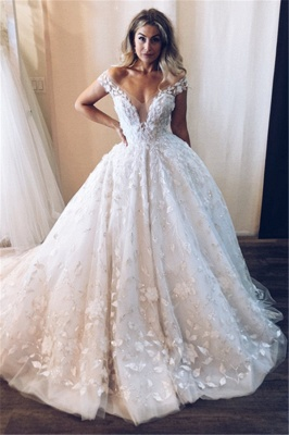 Glamorous Off-the-Shoulder V-Neck Lace Appliques Ball Gown Tulle Wedding Dresses