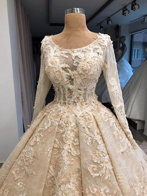 Gorgeous Long Sleeve Lace Appliques Retro Ball Gown Wedding Dresses Cheap_4