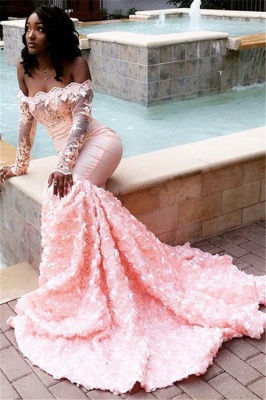 Glamorous Off-the-Shoulder Long Sleeves Lace Appliques Sexy Mermaid Sweep Train Prom Dresses_2