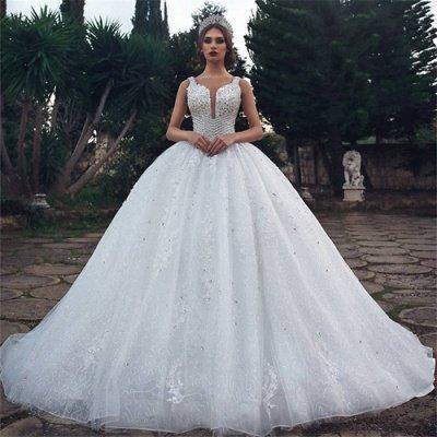 Elegant Straps Sleeveless Lace Appliques V-Neck Rhinestones Ball Gown Wedding Dresses Cheap_3