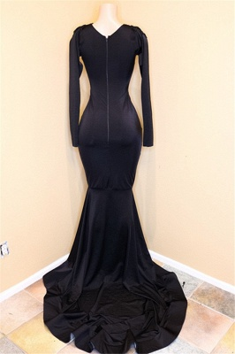 Mordern V-Neck Long Sleeve Lace Appliques Sequins Mermaid Long Prom Dresses Cheap_3