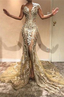 Gorgeous A-Line One Shoulder Beads Lace Appliques Front Split Prom Dresses_1