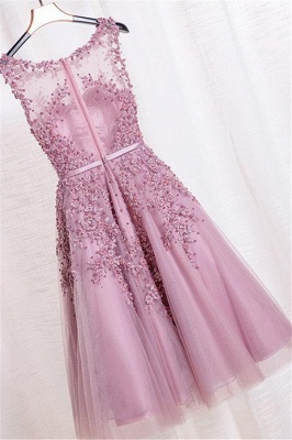 Tea-Length A-line Sheer-Neck Amazing Lace-Appliques Beaded Party Dresses_10