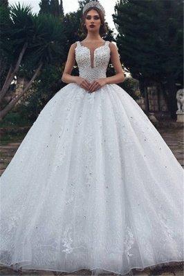 Elegant Straps Sleeveless Lace Appliques V-Neck Rhinestones Ball Gown Wedding Dresses Cheap_1