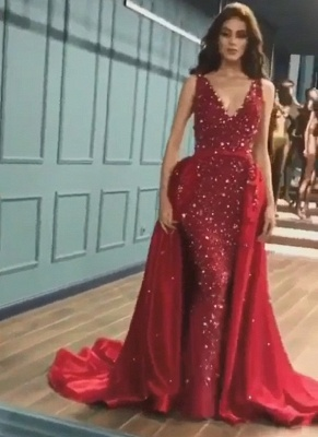 Glittering Mermaid V-Neck Crystals Prom Dresses with Overskirt_2