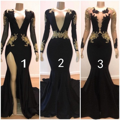 Glamorous V-Neck Long Sleeves Lace Appliques Sexy Mermaid Floor-Length Prom Dresses_3