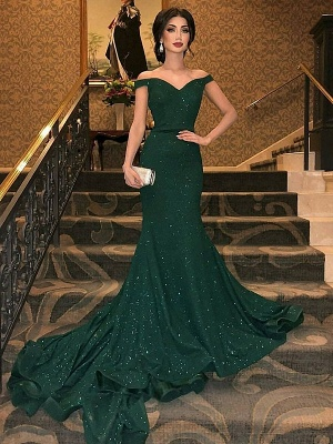 Dark Green Off-The-Shoulder Sequins Mermaid Sleeveless Sweep Train Prom Dresses