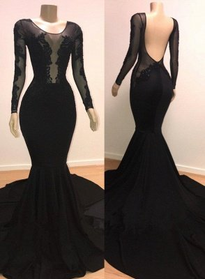 Unique Scoop Long Sleeves Backless Lace Appliques Tulle Sexy Mermaid Prom Dresses_1