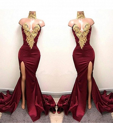Front-Split High Neck Mermaid Burgundy Lace Appliques Prom Dresses Cheap SP0326_3