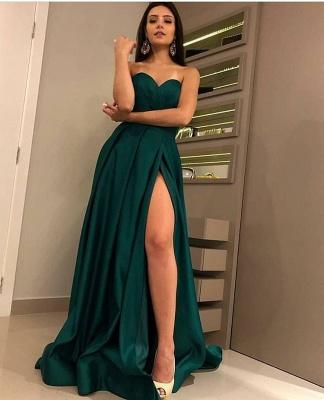 Sexy Strapless Front Split Sleeveless Floor-Length A-Line Prom Dresses_4