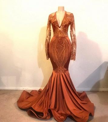 Classic Dust Orange Mermaid V-neck Long Sleeve Prom Dresses Cheap_2