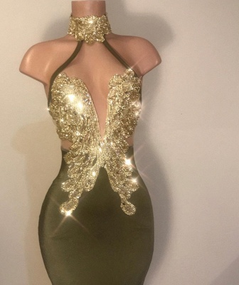 Sheath High Neck Ruffles Gold Beads Sequins Prom Dresses Cheap with Appliques_2