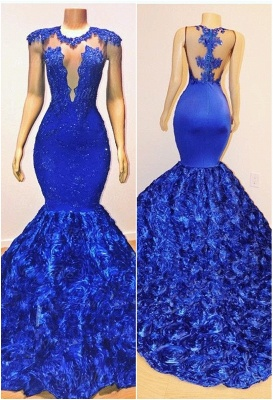 New Arrival Royal Blue Flowers Mermaid Evening Gowns | Glamorous Sleeveless With lace Appliques Long Prom Dresses Cheap_1