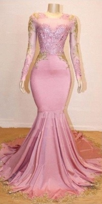 Pink Appliques Long Sleeve Long Prom Dresses Cheap | New Arrival Gorgeous Mermaid Evening Gowns_2