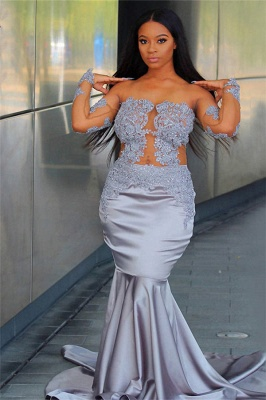 Chic Off The Shoulder Long Sleeves Sexy Mermaid Prom Dresses   New Arrival Sheer Tulle Appliques Evening Gowns_1