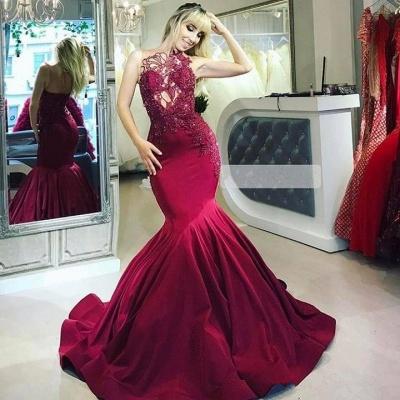 Burgundy Gorgeous Sheer Straps Applique Mermaid Prom Dresses_2