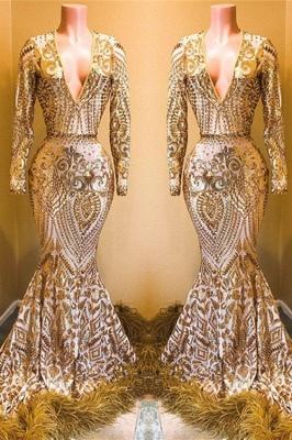 Stunning Sequins Long Sleeves V-neck Mermaid Prom Dresses_1